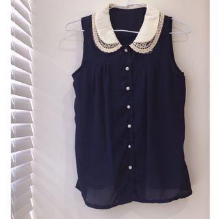 🚚 復古蕾絲圓領 雪紡無袖襯衫(氣質藍) #半價衣服拍賣會