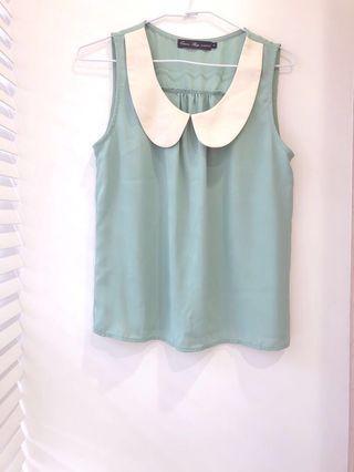🚚 全新💟Queenshop湖水綠無袖雪紡上衣 #半價衣服拍賣會