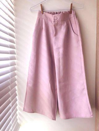 🚚 降價🔻全新🌸甜美休閒~櫻花粉紅寬褲