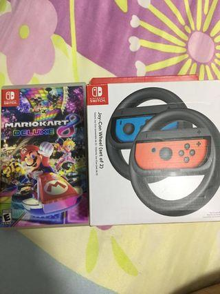 Nintendo Switch Mario Kart Deluxe 8 together with joy-con wheel