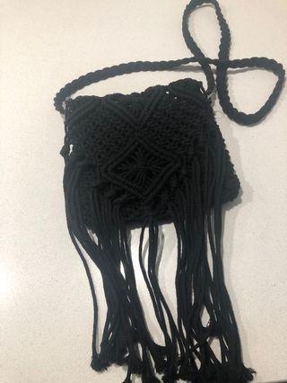 Black Knit Side Bag