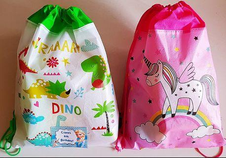 Goodie bag, goody bag, dino bag, unicorn bag, dinosaur drawstring bag, unicorn drawstring bag