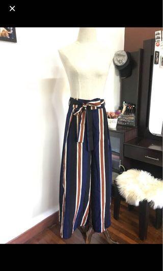Striped split culottes