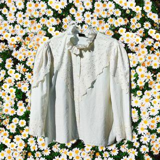 Vintage Cream Embroidered Gypsy Blouse