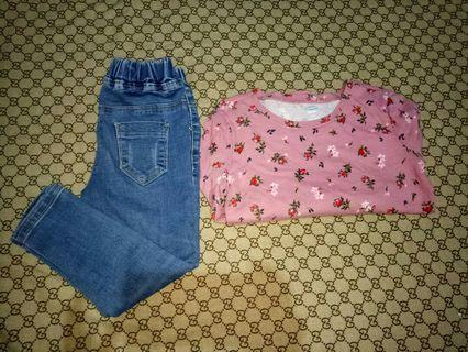 Take Skinny Jeans and carte's top(Size 3-4T)