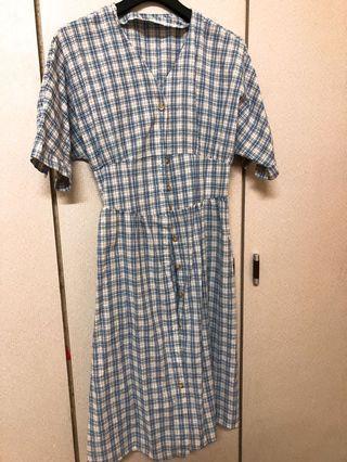 菱格水藍洋裝