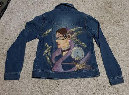 Hand painted vintage denim jacket tumblr gypsy girl