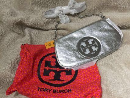 Authentic Tory Burch Silver Crossbody