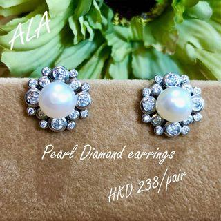 925 純銀珍珠水鑽耳環耳釘 925silver pearl cz diamond earrings *ALA mama*