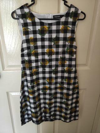 Dangerfield Gingham Sunflower Dress