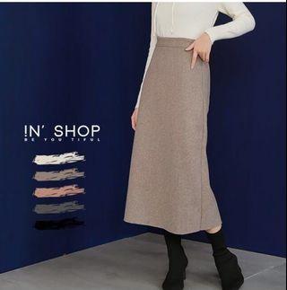 🚚 近全新!in shop毛呢長裙 有拉鍊鬆緊長裙- 可可 現在還在架上 可實拍