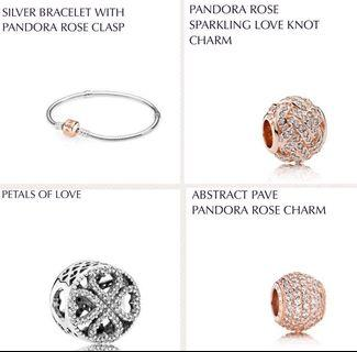 Pandora rose gold bracelet + charms