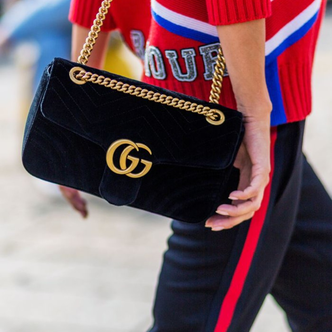 d178c8806 100% GUCCI *New* GG Marmont Black Velvet Medium Shoulder Bag S$2,700 ...