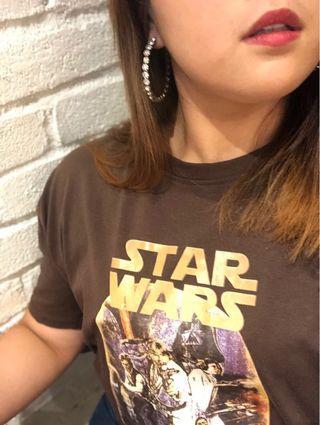 Oversize Brown Star Wars Graffiti Tshirt