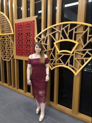 Red Lace off Shoulder Dinner Dress
