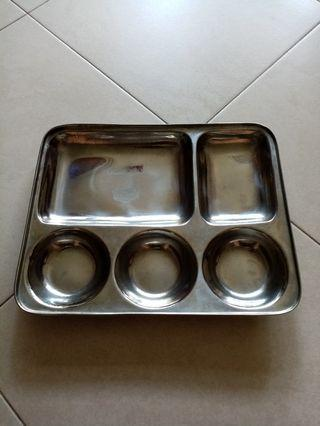 Stainless steel meal plate with compartments