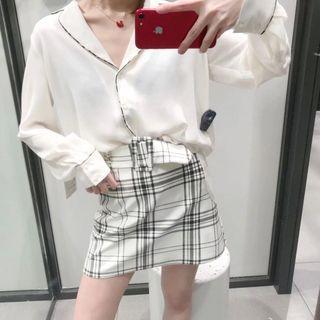 全新❤️S號ZARA簡約格紋鬆緊腰圍腰帶短裙