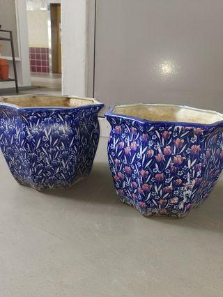 Blue Floral Design Porcelain Pots