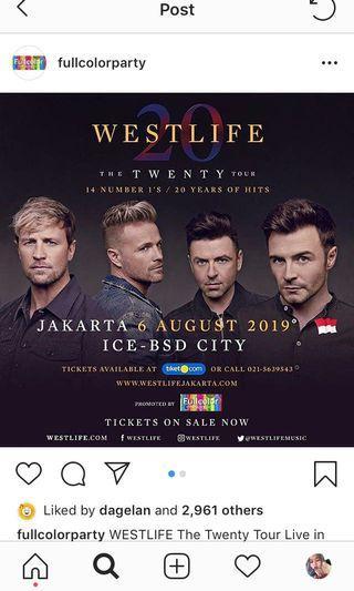2 tiket gold Westlife Jakarta 6 Agustus 2019