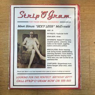 Strip 'O' Gram Funny Birthday Card