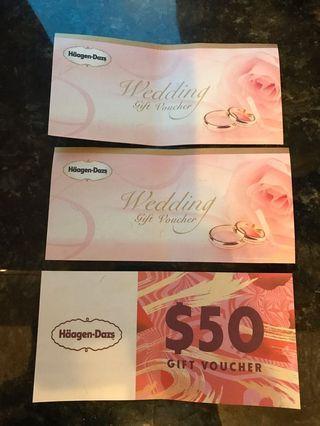 Haagen Dazs $50現金券x 3