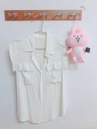 無袖白襯衫