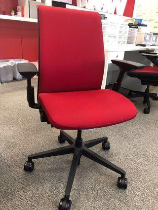 Steelcase Red Office Chair with Wheels