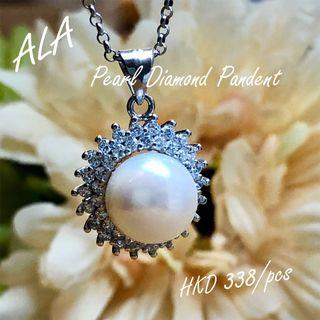 925純銀珍珠水鑽吊墜頸鏈 925 Silver pearl cz diamond necklace *ALA mama*