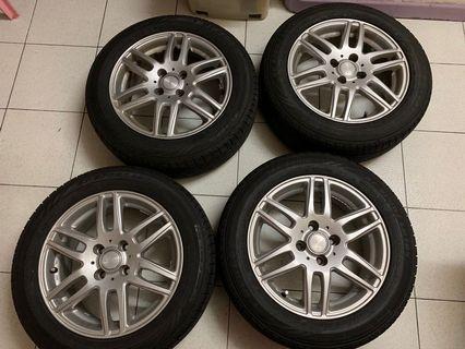 "15"" LEBEN (日本合金鈴)4穴 5.5j 連Dunlop SP SPORT LM704 18年製"