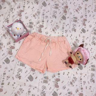 粉橘色鬆緊短褲