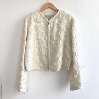 日本製津森千里特殊材質泡泡立體布料外套