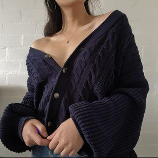 Oversized Navy Button Up Cable Knit Cardigan
