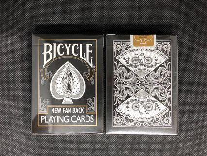 [Rare] Bicycle Vintage Black New Fan Back Playing Cards