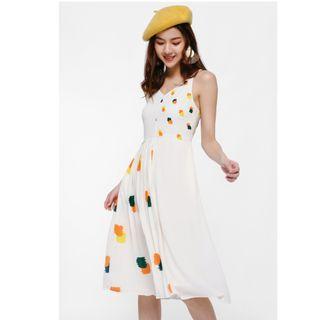 🚚 Cambrie Contrast Pleated Midi Dress Love Bonito