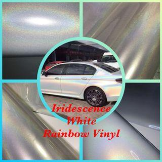 Iridescence rainbow white vinyl wrap sticker