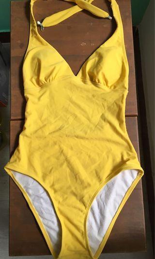 One piece yellow beachwear swimsuit