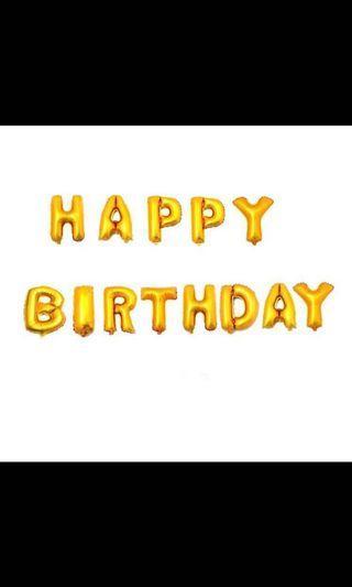 "🚚 16"" Gold Happy Birthday Balloons"
