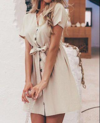 Linen button down tie mini dress