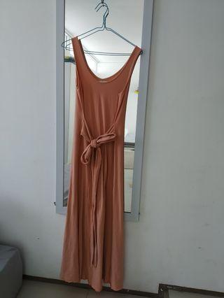 Maxi dress Cottonink warna peach fit upto XXL