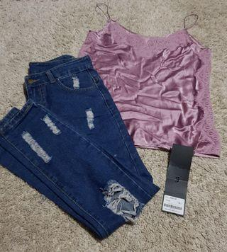 Deborah set || BNWT saturday club pink purple satin and lace cami slip top and ripped distressed denim boyfriend/mom jeans dark wash