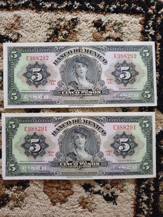 1961 United States of Mexico *Banco De Mexico* 5 Pesos running serial pair GEM UNC