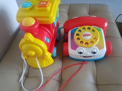 🚚 [PRELOVED] Fisher Price Train with buttons + sounds & telephone car
