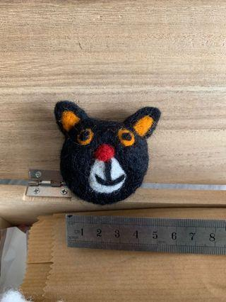尼泊爾羊毛氈黑貓扣針pins