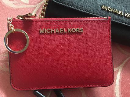 MK 玫瑰紅 卡夾鑰匙零錢包 金字🌹