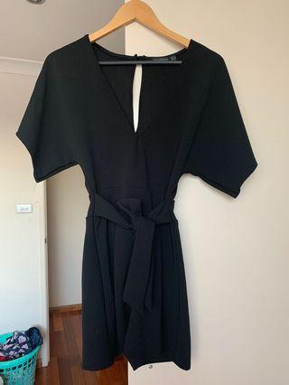 Black tie front playsuit