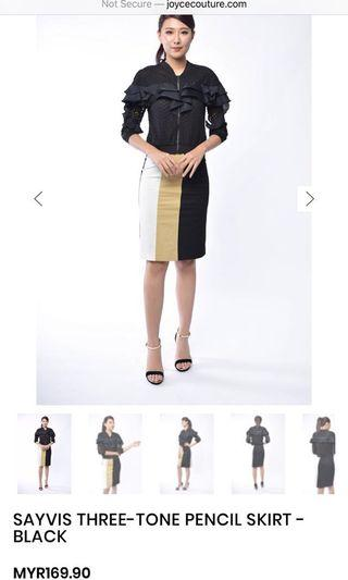 Three-tone Pencil Skirt