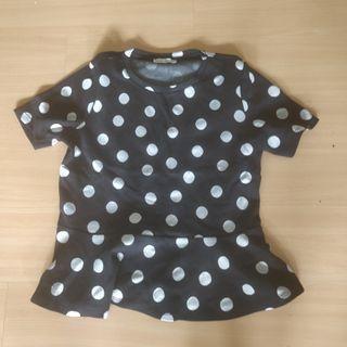 Zara Woman Polka Dot Peplum Skirt Top