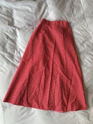 🚚 red checked picnic bitch circle skirt