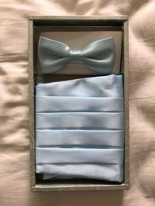 Light blue bow tie & cummerbund set