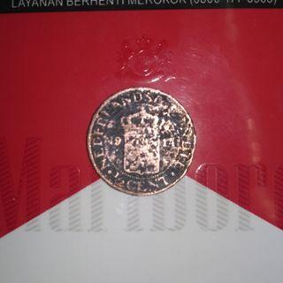 Uang Koin Kuno 1/2 Sen Nederlandsch Indie 1914